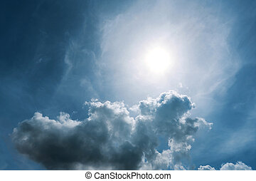 sky and sun - background blue sky with clouds and sun