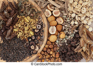 Chinese Herbs - Chinese herbal medicine selection forming a...