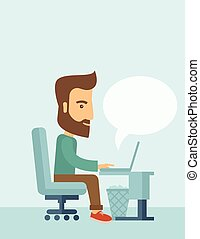 Businessman and his laptop. - A buisnessman sitting infront...