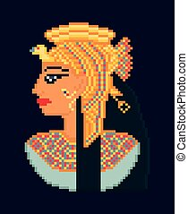 Vector pixel art illustration of woman cleopatra portrait  from ancient Egypt
