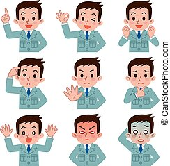 Set of young men work clothes  - Vector illustration.