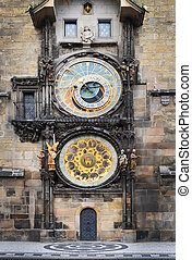 Medieval Astronomic clock Orloj on the Old Town Hall tower...