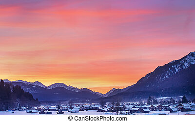 Colotful winter sunset in Garmisch-Partenkirchen in Bavarian...