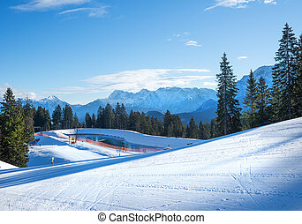 The slopes for mountain skiing at Hausberg top near...