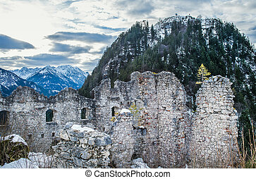 View point in the Ehrenberg castle in Titol Alps, Austria,...