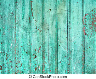Old rustic painted cracky green (turqouise) wooden texture...