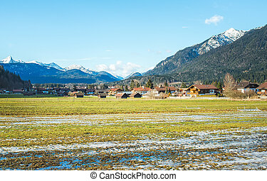 The green valley in Bavarian Alps near...