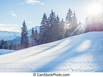 Mountain skiing slope in Garmisch-Partenkirchen resort in...