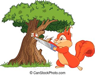 Funny squirrel saws tree branch - Illustration of funny...