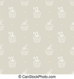 cake pattern - Seamless pattern with dessert cake vector...