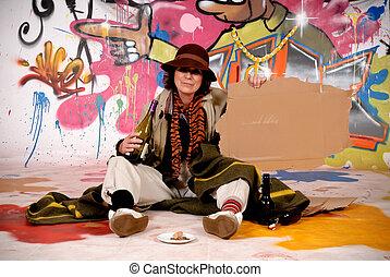 Female Tramp urban graffiti - Female tramp, beggar in front...
