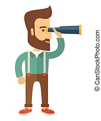 Man with binocular - A Caucasian with beard with binocular...