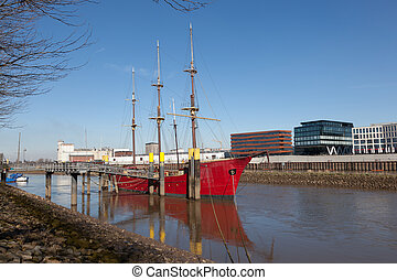 Historic sailing ship anchoring on the Weser river in Bremen, Germany