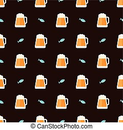 glasses of beer and fish pattern - Seamless pattern with...