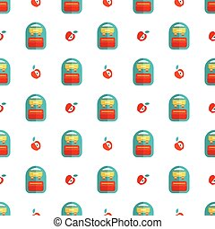 backpack and apple pattern - Seamless pattern with backpack...