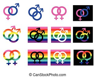 gender signs and icons on a white backgrownd