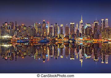Manhattan, a, notte,