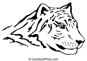 Tiger head   - Illustartion of tiger head in tattoo style