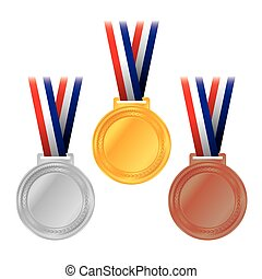 Gold, Silver, and Bronze Medals - An illustration of gold,...