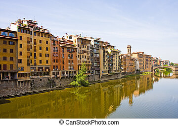 Apartments Along Arno River - Colorful Buildings Along the...