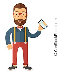 Man standing holdingn his phone. - A hipster Caucasian happy...