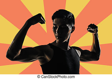 Silhouette of strong man - Silhouette of young man show his...