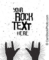 Rock hands silhouettes on a concert , grunge template for...