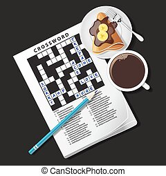 illustration of crossword game, mug of coffee and crepe -...