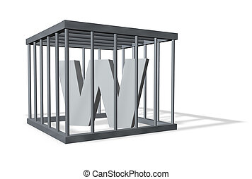 big W in a cage - uppercase letter W in a cage on white...
