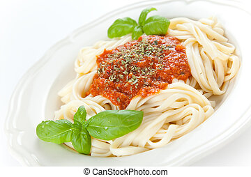 home made bolognese noodles isolated over white