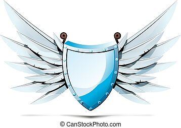 triangular shield with wings