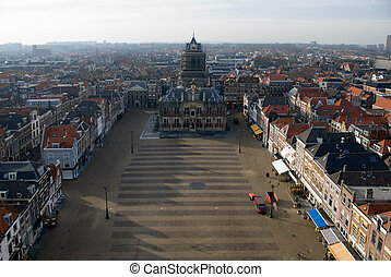 Delft Town Square and Town Hall - A view of the town square,...