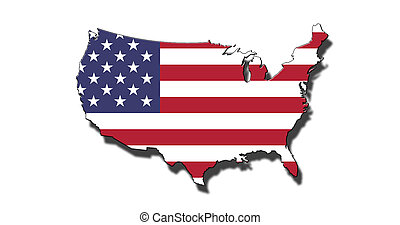 Outline of United States of America with USA flag - Outline...