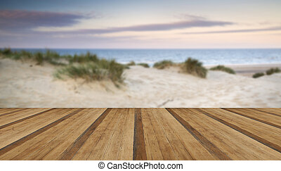 Grassy sand dunes landscape at sunrise with wooden planks floor