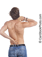 Attractive young man with back pain - Attractive young man...