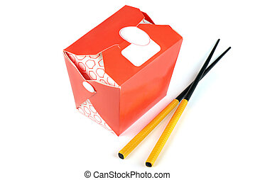 Chinese take away red food box with chopsticks isolated on...