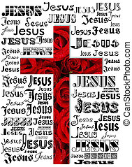 cross - A cross with names of Jesus red roses