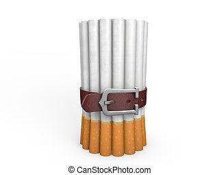 Belted stack of cigarettes isolated on white background....