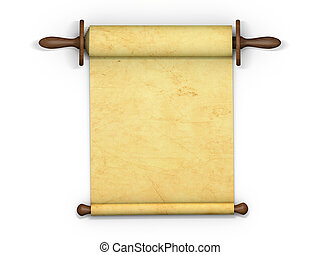 Antique scroll of parchment manuscript isolated on white...