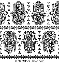 Vector Indian hand drawn hamsa seamless pattern - Vector...