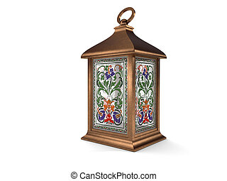 Vintage copper lantern on white