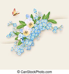 Flowers Forget-me-not Greeting Card - Floral vector greeting...