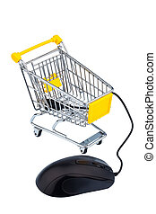 basket and computer mouse as a symbol for online shopping