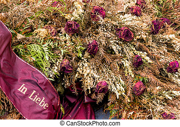 withered wreath - wreath at the barbara cemetery comes to be...
