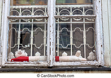 old wooden windows in old building - old wooden window, icon...