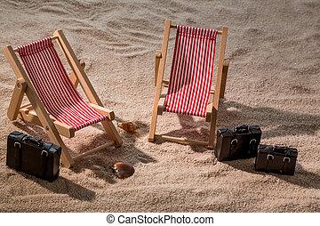 deck chair on the sandy beach - kkleine deck chairs on sandy...