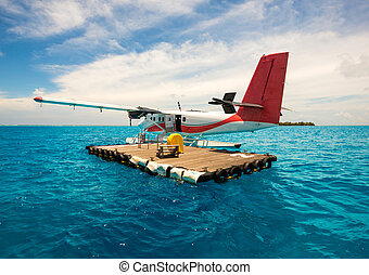 Seaplane for tourists Maldives indian ocean