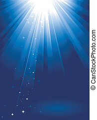 Blue light burst with stars