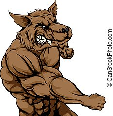 Wolf mascot fighting - A mean looking werewolf or wolf...