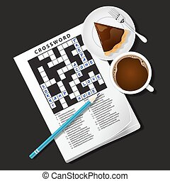 illustration of crossword game, mug of coffee and pie - top...